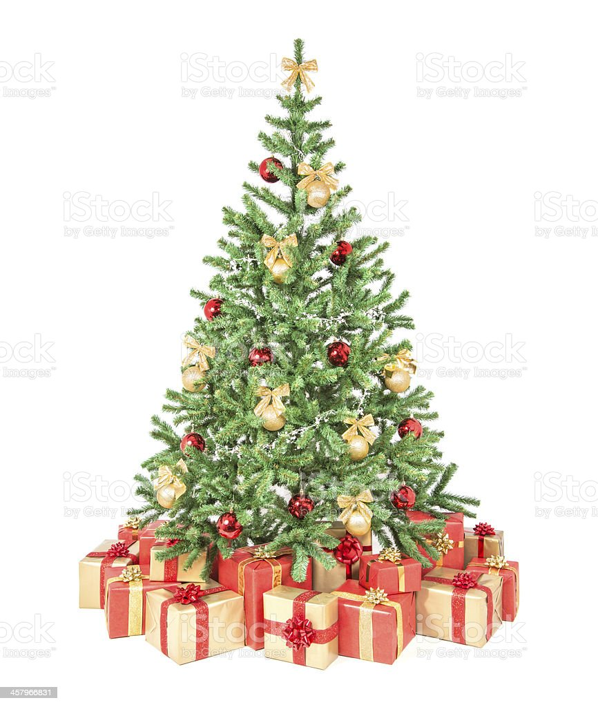 Decorated Tree | Decorated Christmas Tree With Many Gift Boxes Isolated On White