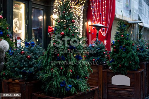 istock Decorated Christmas trees in pots near house on night street 1084461452