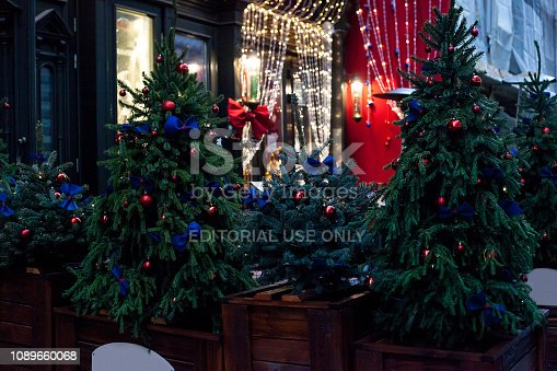 istock Decorated Christmas trees in pots near house on night street 1089660068