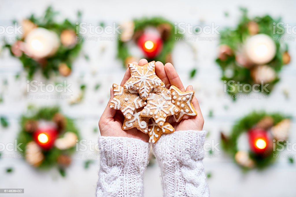 Decorated cookies stock photo
