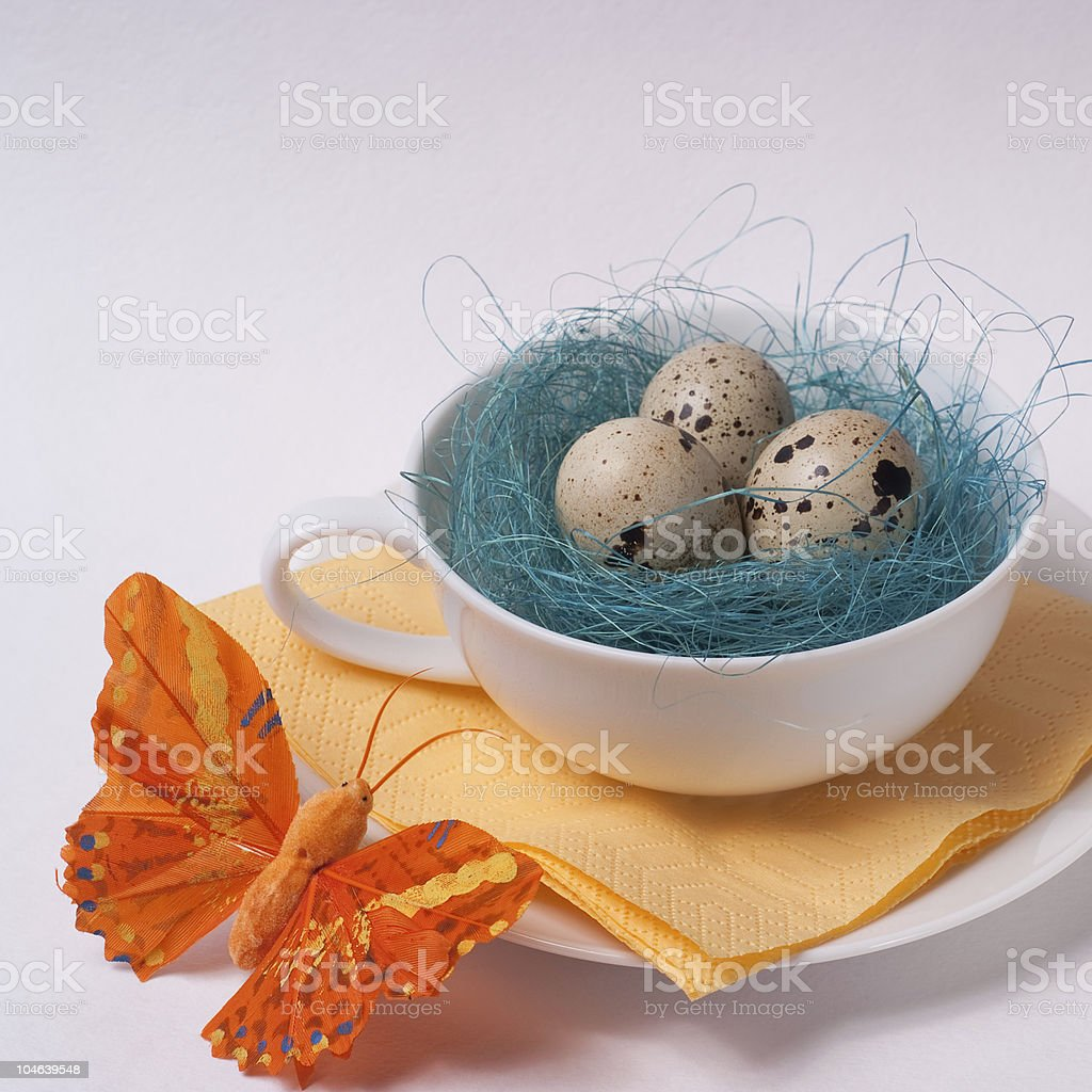 Decorated cup for easter breakfast royalty-free stock photo