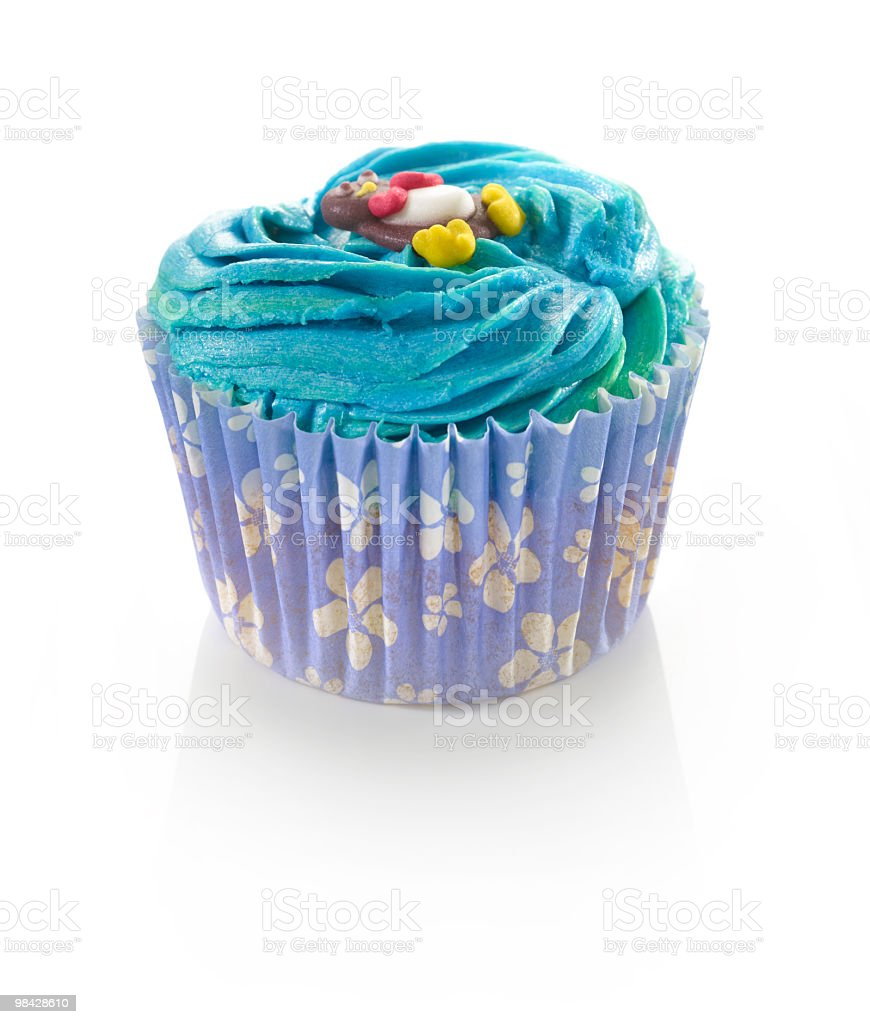 Decorated Cupcake on White royalty-free stock photo