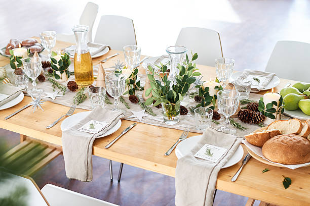 Decorated dining table stock photo