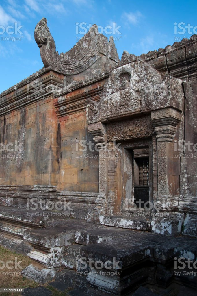 decorated doorway and roof at the 11th century Preah Vihear Temple complex stock photo