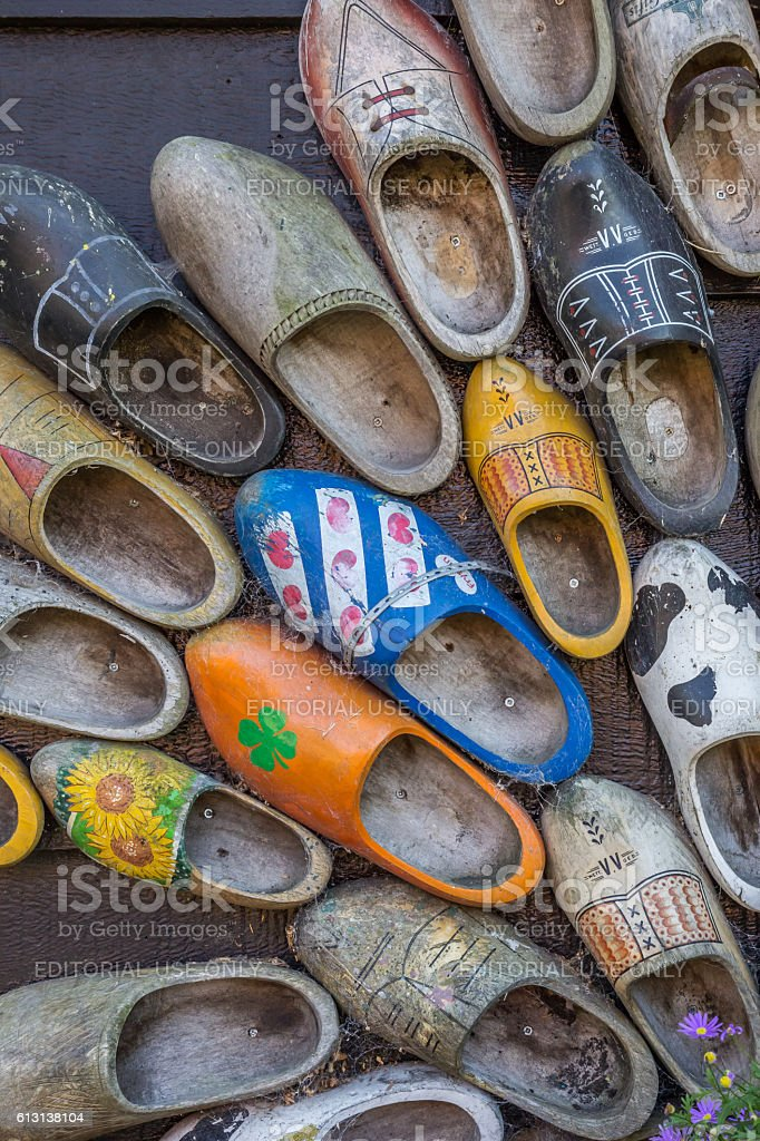 Decorated dutch wooden shoes stock photo