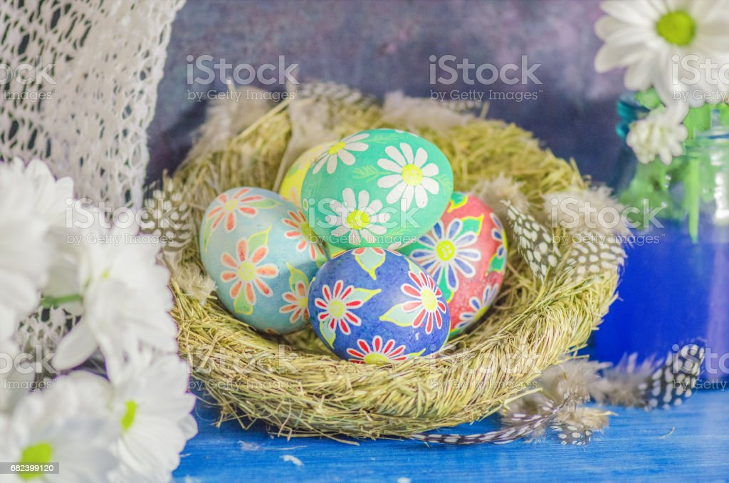 Decorated easter eggs with daisies royalty-free stock photo