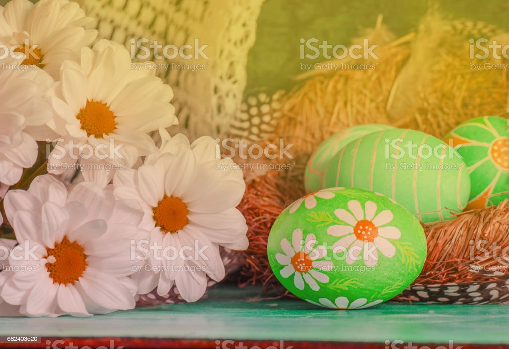 Decorated easter eggs with daisies photo libre de droits