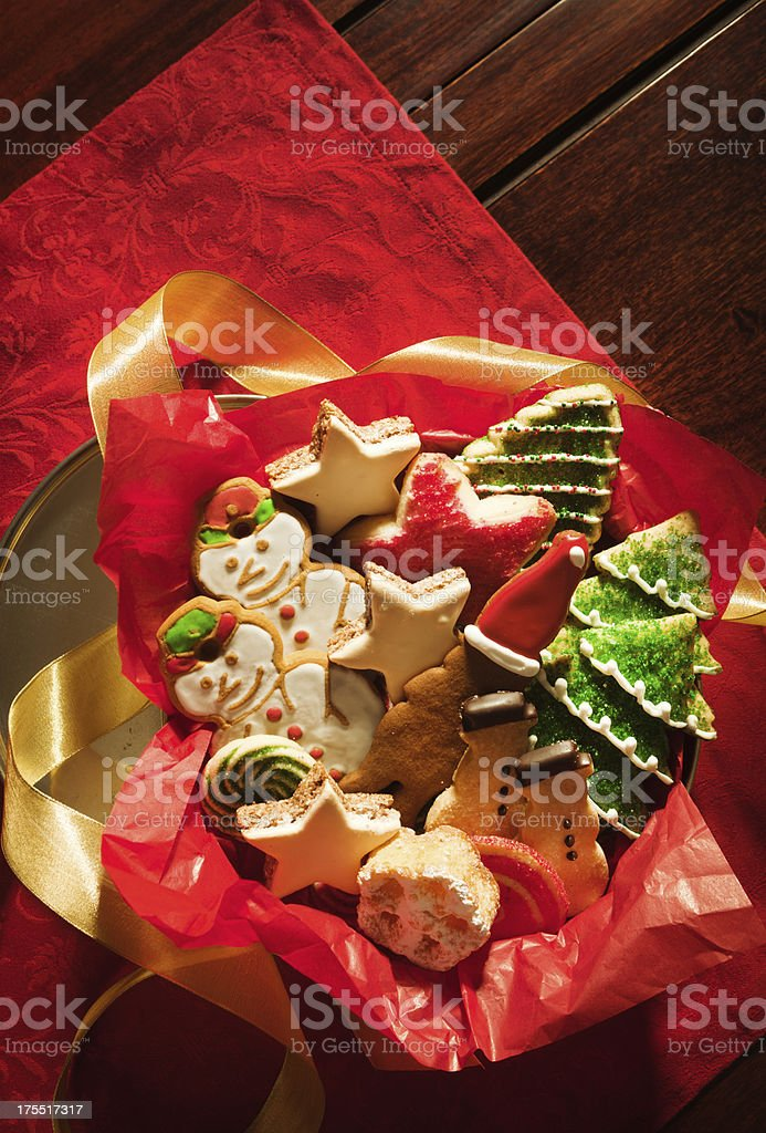 Decorated Festive Christmas Cookies in Tin with Vt stock photo