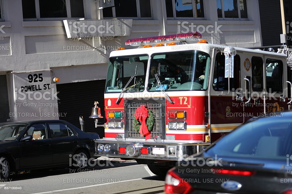 Decorated Fire Engine at the Christmas Eve, San Francisco, California stock photo