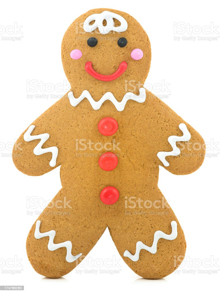 Decorated gingerbread cookie waiting to be eaten stock photo