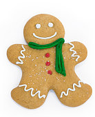 Decorated gingerbread man on a white background