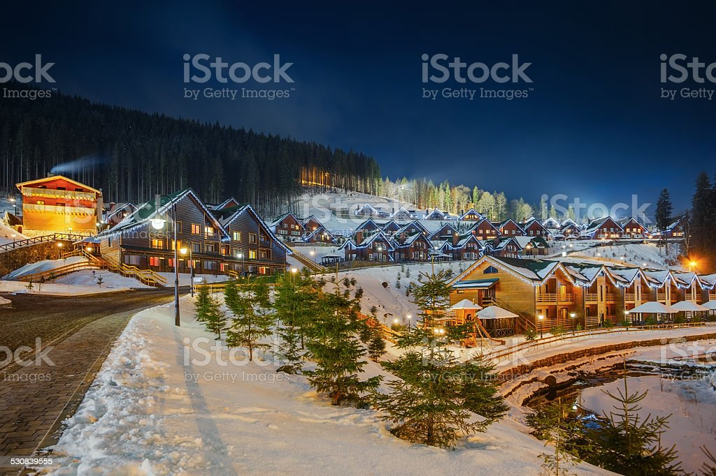Decorated glowing home for Christmas stock photo