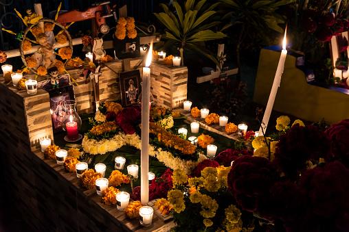 Decorated Grave in Xoxocatlán for the Día de los Muertos Festival in Oaxaca, Mexico