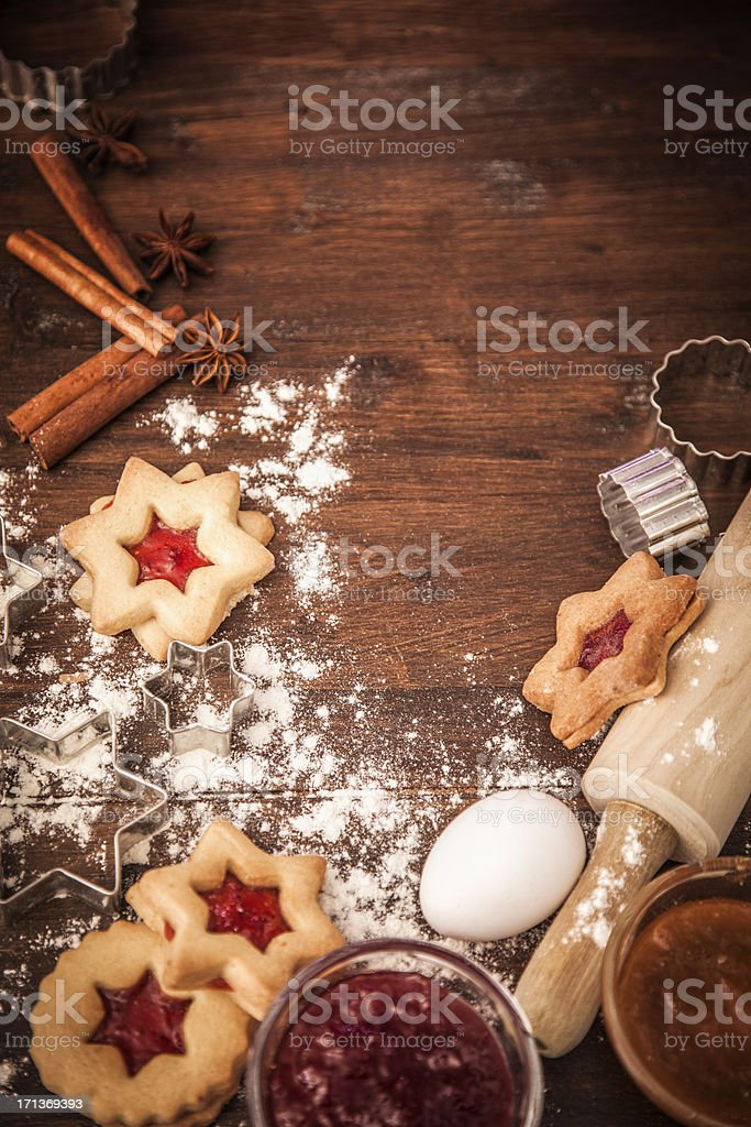 Decorated Holiday Christmas Cookies And Biscuits stock photo