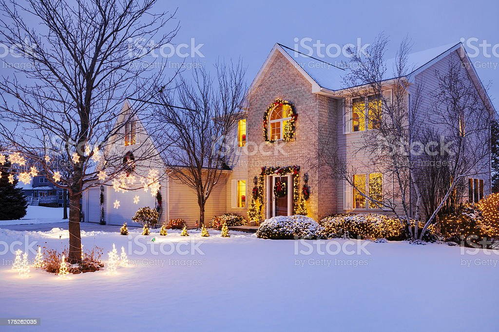 Decorated Home With Holiday Lighting and Snow royalty-free stock photo