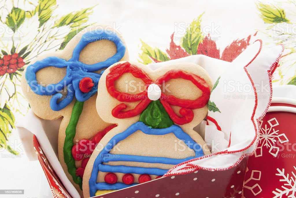 decorated homemade sugar Christmas cookies in a holiday gift box royalty-free stock photo