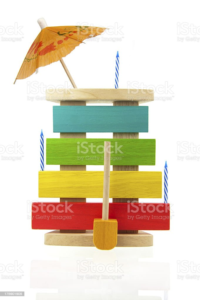 Decorated kids xylophone isolated on white royalty-free stock photo