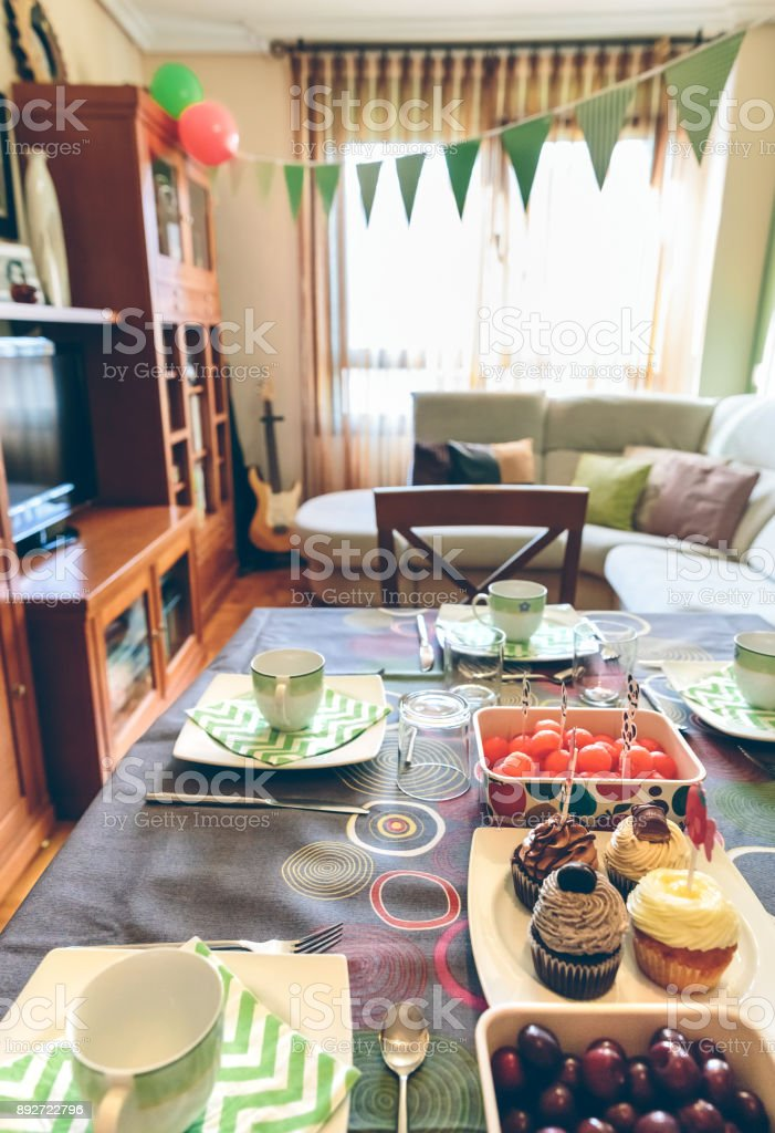 Decorated living room for breakfast party stock photo