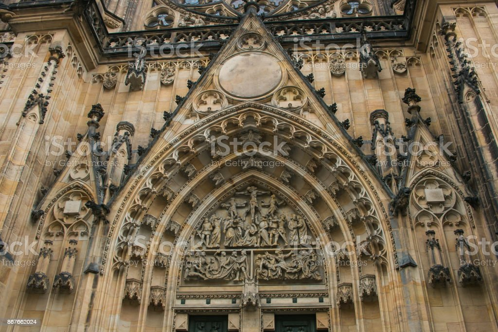 Decorated main entrance of the Vysehrad cathedral in Prague in Czech Republic stock photo