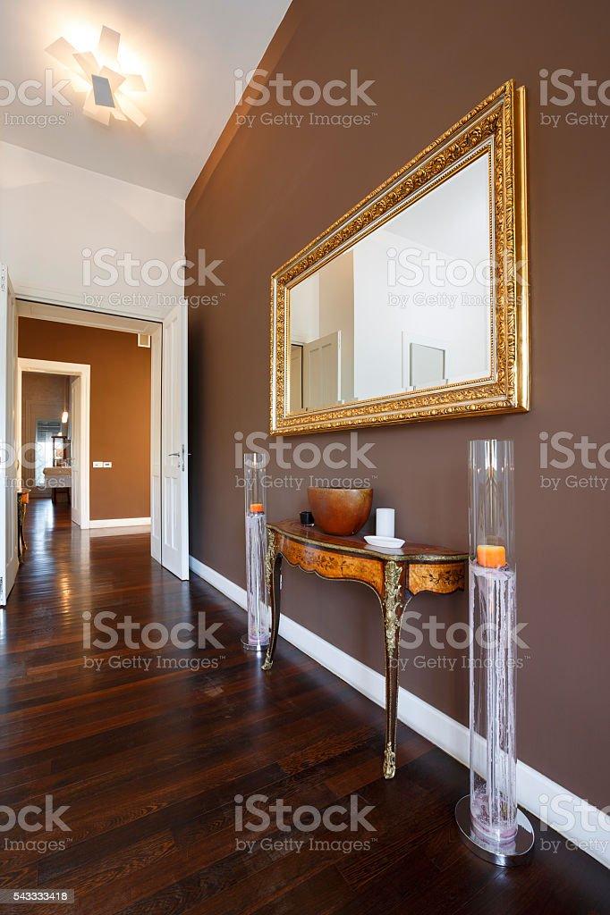 Interieur De La Maison Moderne Elegante Decoree Dun Grand Miroir