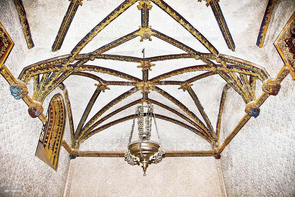 Decorated mudejar ceiling of  La Casa De Pilatos, Seville , Spai royalty-free stock photo