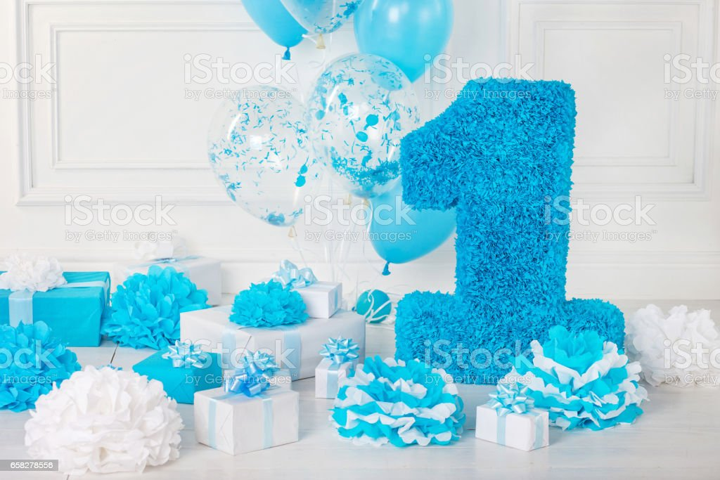 Decorated number 1 for a birthday stock photo