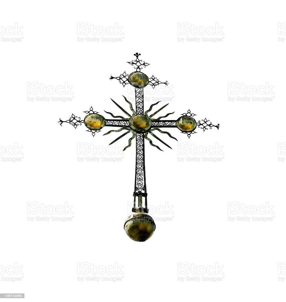 decorated orthodox cross over white royalty-free stock photo