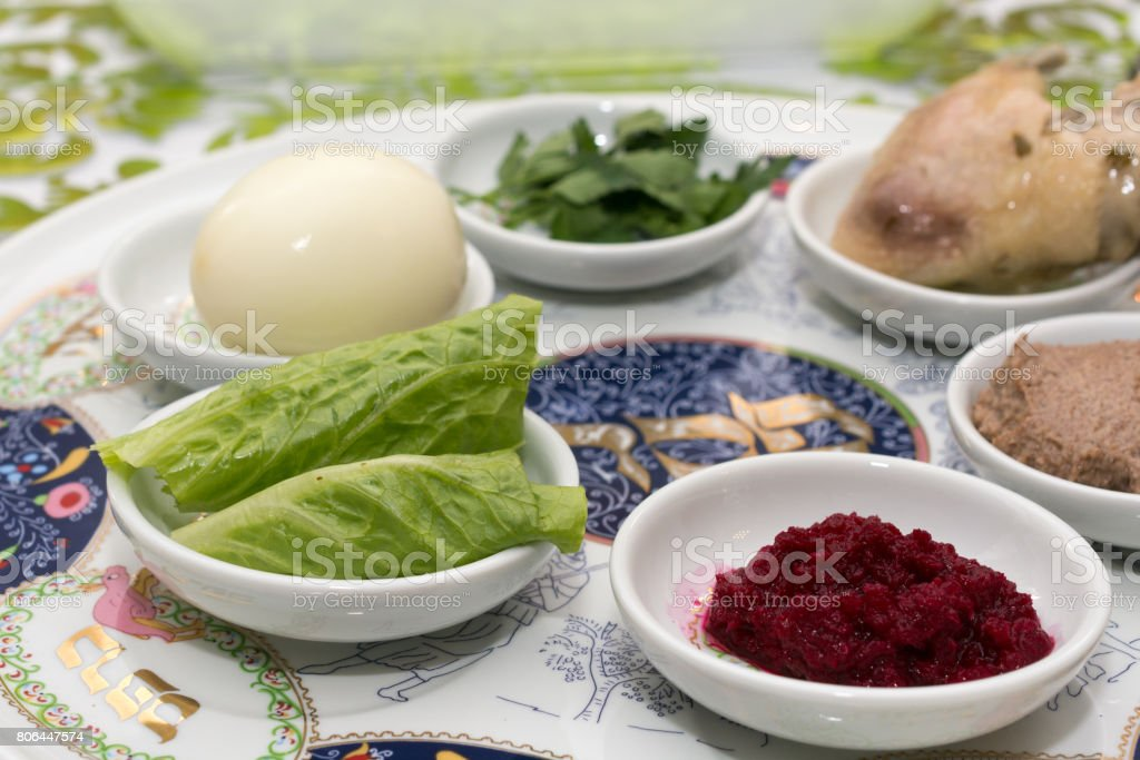 Decorated Passover Seder table in Tel Aviv, Israel stock photo