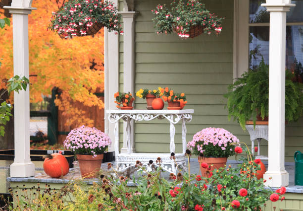Decorated Porch at Thanksgiving