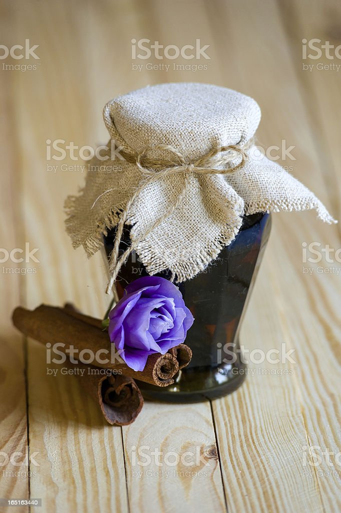 Decorated pot with walnut jam royalty-free stock photo