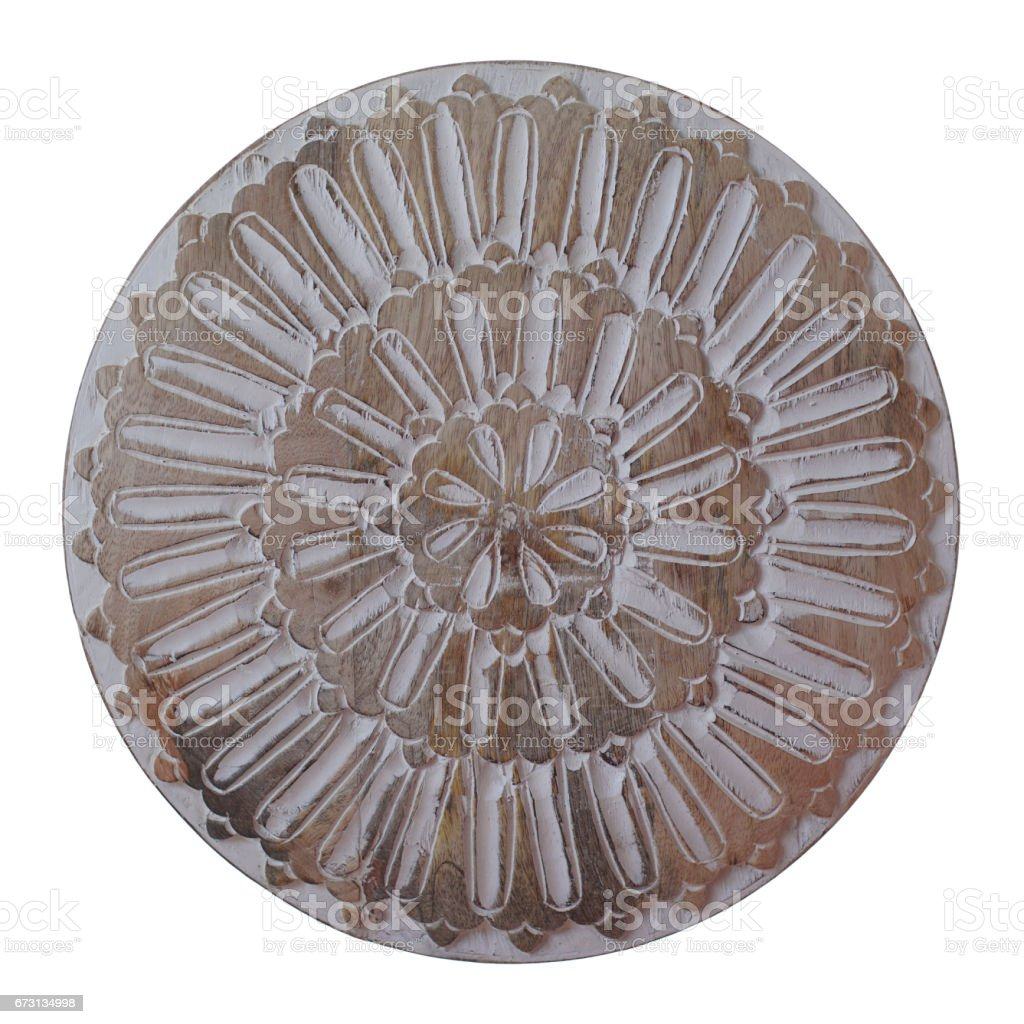 Decorated round shield made of wood isolated on white background stock photo