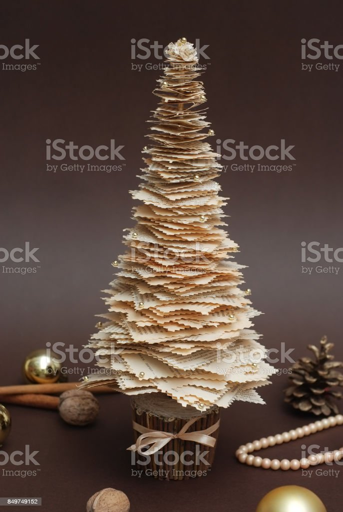 Decorated Rustic Christmas Tree And Gifts On White Background Royalty Free Stock Photo