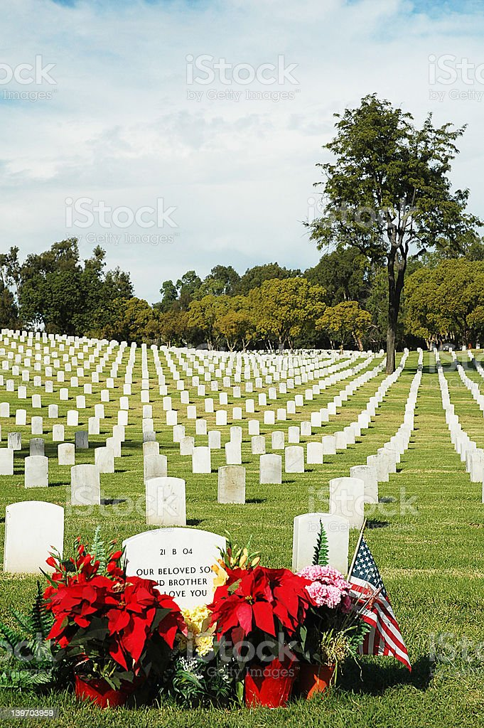 decorated soldier's grave royalty-free stock photo