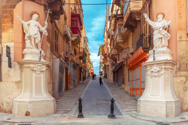 Decorated street in old town of Valletta, Malta stock photo