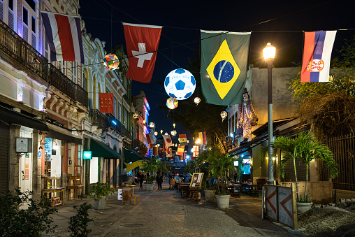 Decorated Street of Bars and Restaurants for the World Cup 2018