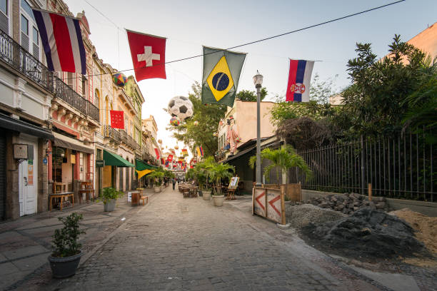 Decorated Street of Bars and Restaurants for the World Cup 2018 stock photo