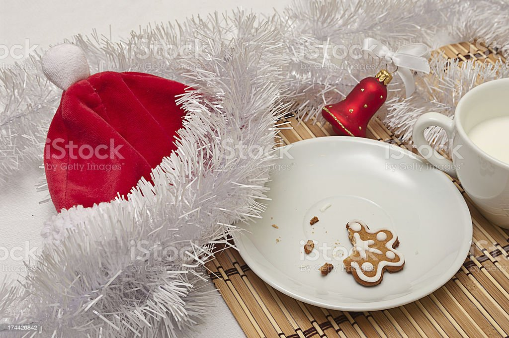 Decorated Sugar Cookies and Milk for Santa stock photo