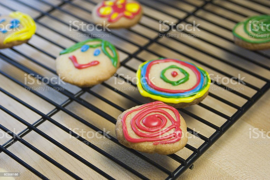 Decorated Sugar Cookies on Cooling Rack royalty-free stock photo