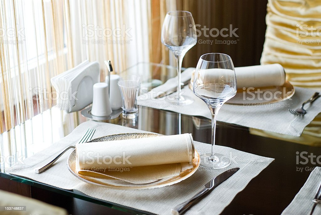 decorated table in the restaurant royalty-free stock photo