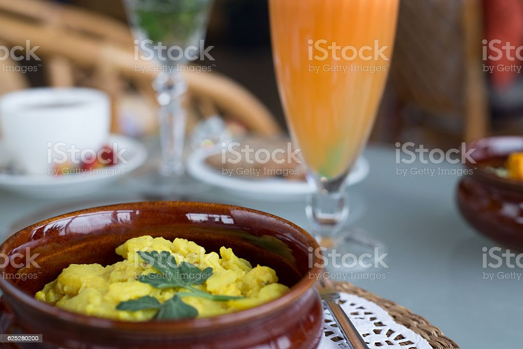 decorated table, lunch, hot soup, cup of tea, Vegetarian stock photo