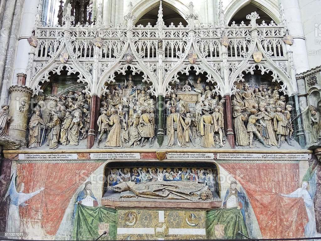 decorated tomb in Amiens Cathedral, France stock photo