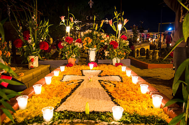 Decorated tomb in the cemetery of Xoxocoatlan, Mexico stock photo