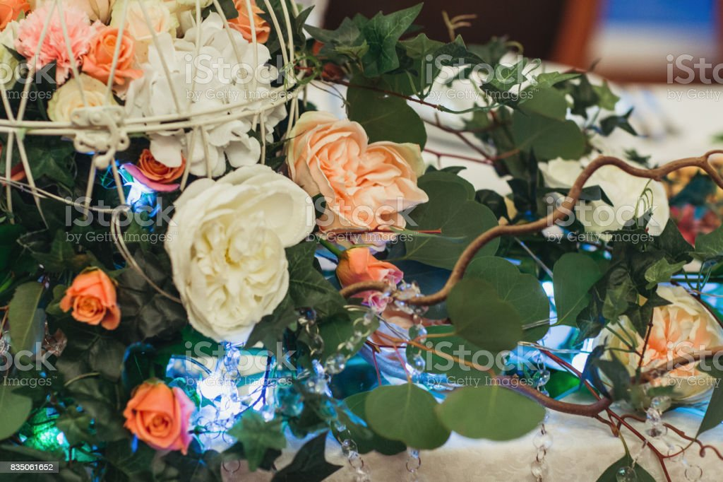 decorated wedding flowers stock photo
