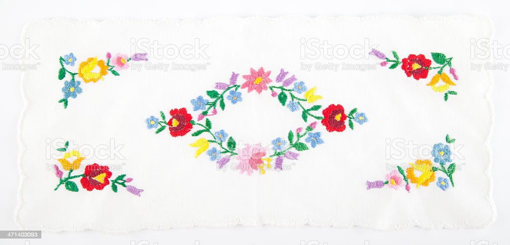 decorated with Hungarian embroidery royalty-free stock photo