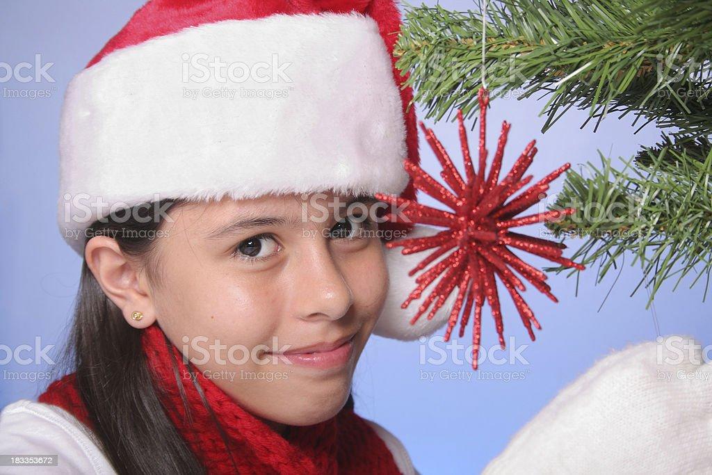 Decorating a Christmas Tree royalty-free stock photo