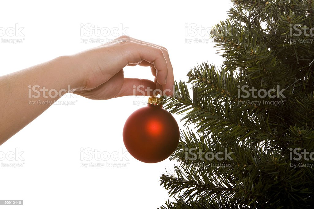 Decorating Christmas tree royalty-free stock photo