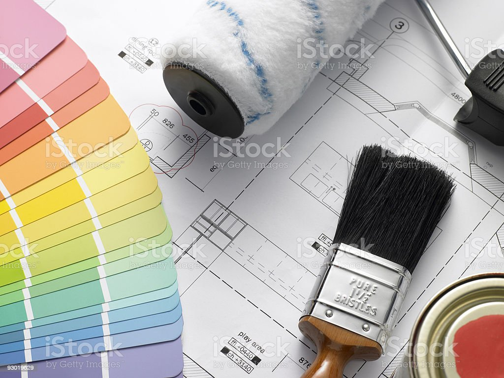 Decorating Equipment On House Plans stock photo