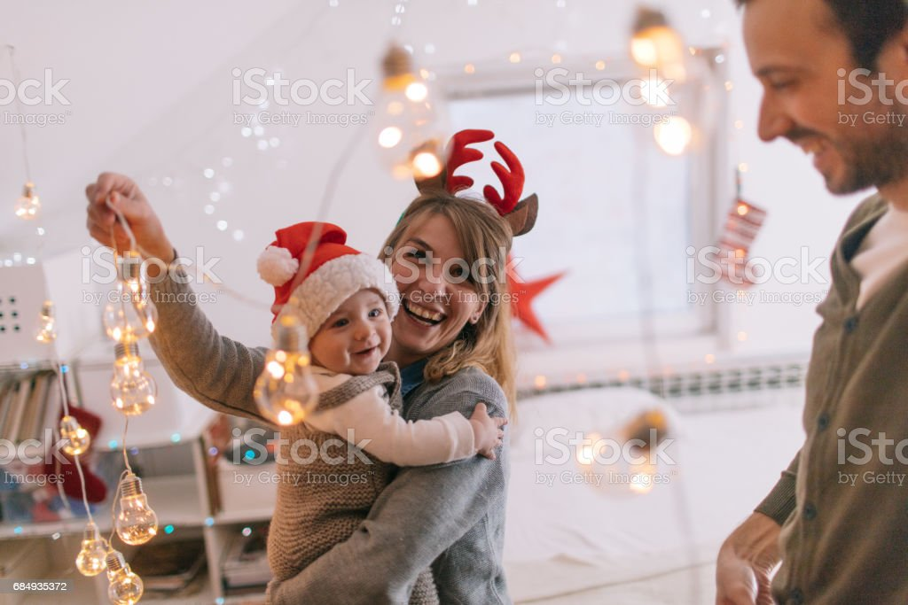 Decorating for Christmas holidays stock photo