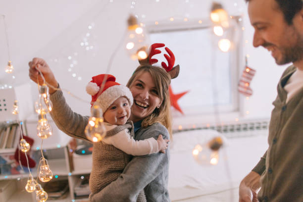 Decorating for Christmas holidays stock photo