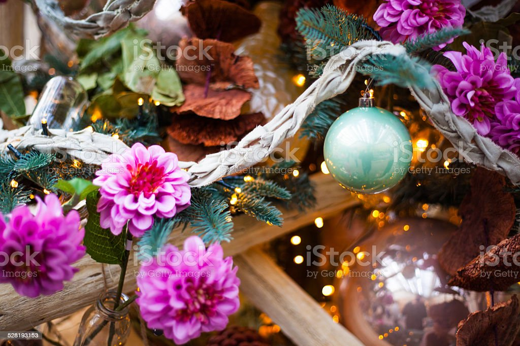 decoration christmas balls and flowers stock photo